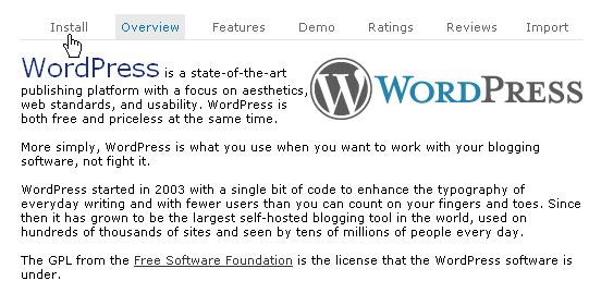 Переход к установке wordpress в softaculous