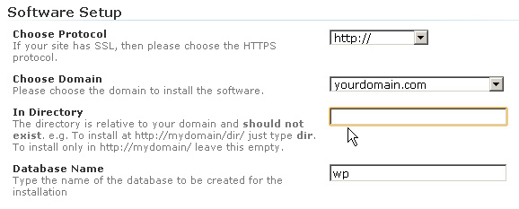 Определение параметров wordpress